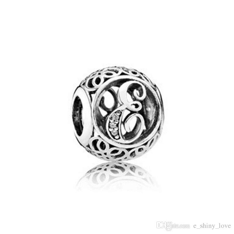 26 pz / lotto Moda Genuino 100% 925 Sterling Silver Rotonda Lettera Perline Braccialetto di Marca Europeo Autentico Lusso Gioielli FAI DA TE Regalo STB151