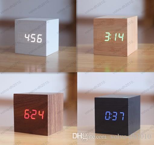 повышение! Multi-цвета лучший высокого класса цифровые часы Настольные часы домашнего декора термометр деревянный светодиодный будильник LLFA