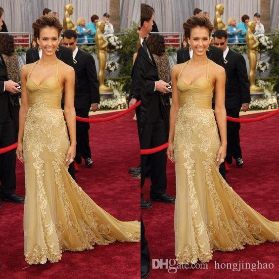 Celebrity Style Halter Gold Lace Tulle Long Mermaid Prom Dresses Red Carpet Evening Gowns Floor Length