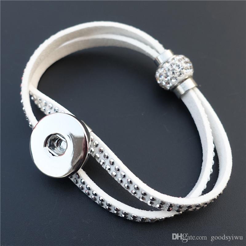 Noosa 2 Rolls in pelle con strass in cristallo con magnete Chiusura in metallo con zenzero 18mm con bottoni a pressione, bracciale unisex