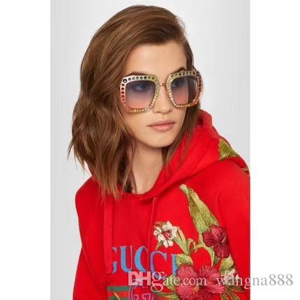Gafas de sol de diseñador de lujo para mujeres 0115 Gafas de marco cuadrado de metal mosaico brillante Cristal de diamante de calidad superior UV400 vienen con caja original