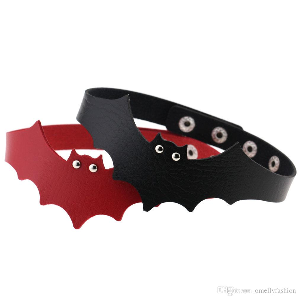 Fashion Sexy Harajuku Handmade PU Leather Halloween Bat Wings Harness Necklace Rock Collar Punk Goth Choker Necklace Torques Chocker Gift