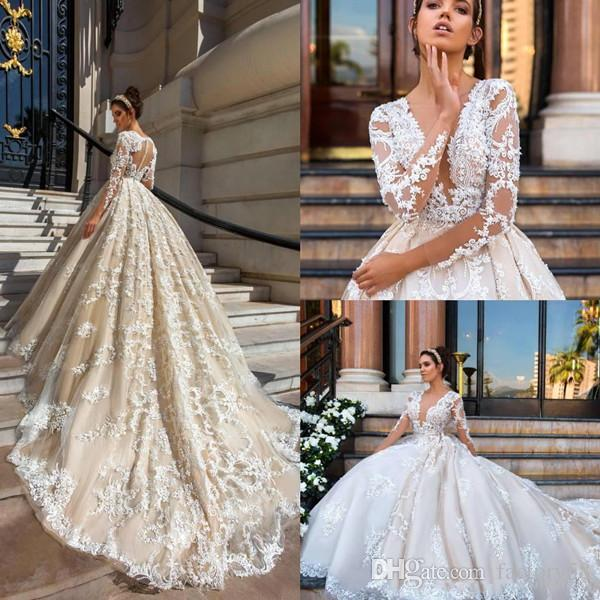 2018 Glamorous White Lace Deep V Neck Ball Gown Cathedral Train ...