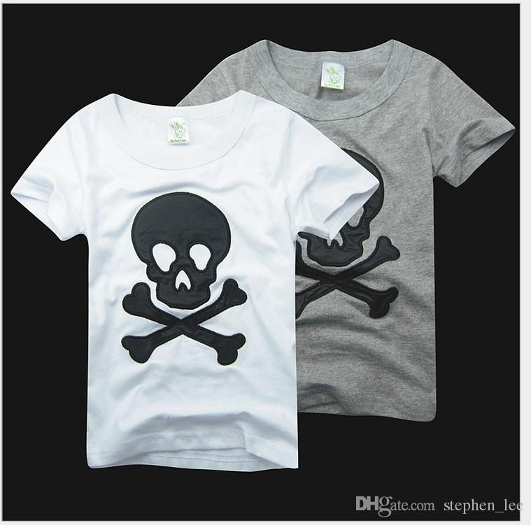 Retail 2017 New Arrivals Summer Boys Girls Skull Embroidered T-shirt Kids Cotton Short Sleeve T-shirts Children Casual Tops Tees 90-130cm