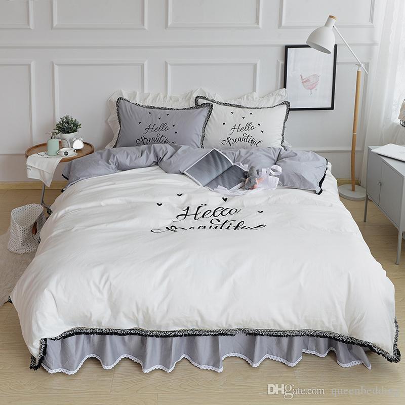 solido del cotone bianco breve morden biancheria da letto a casa set CIAO copertura di disegno della regina re piumone bedskiert set Casa dolce volant
