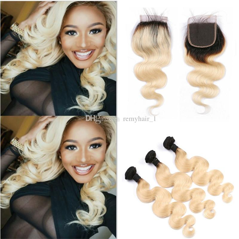Ombre Blonde Hair Extensions With Closure 1b613 Dark Root Ombre