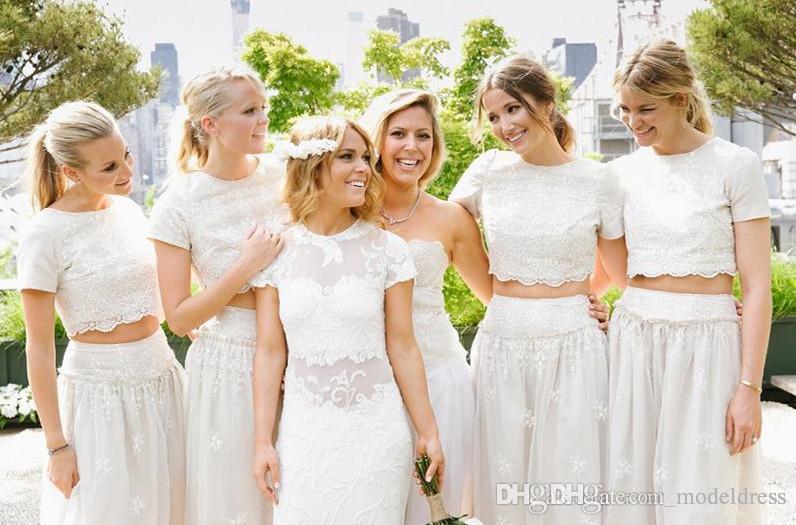 New Summer Beach Two Pieces Bridesmaids Dresses 2017 Jewel Short Sleeve Long Bohemian Lace aid of Honor Wedding Guest Dress Cheap Custom