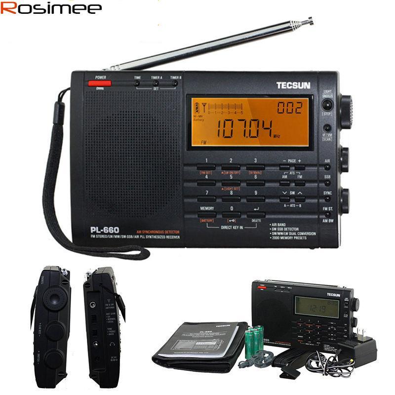Wholesale-100% New TECSUN PL-660 Radio PLL SSB VHF AIR Band Radio Receiver  FM/MW/SW/LW Radio Multiband Dual Conversion TECSUN PL660 Y4133A