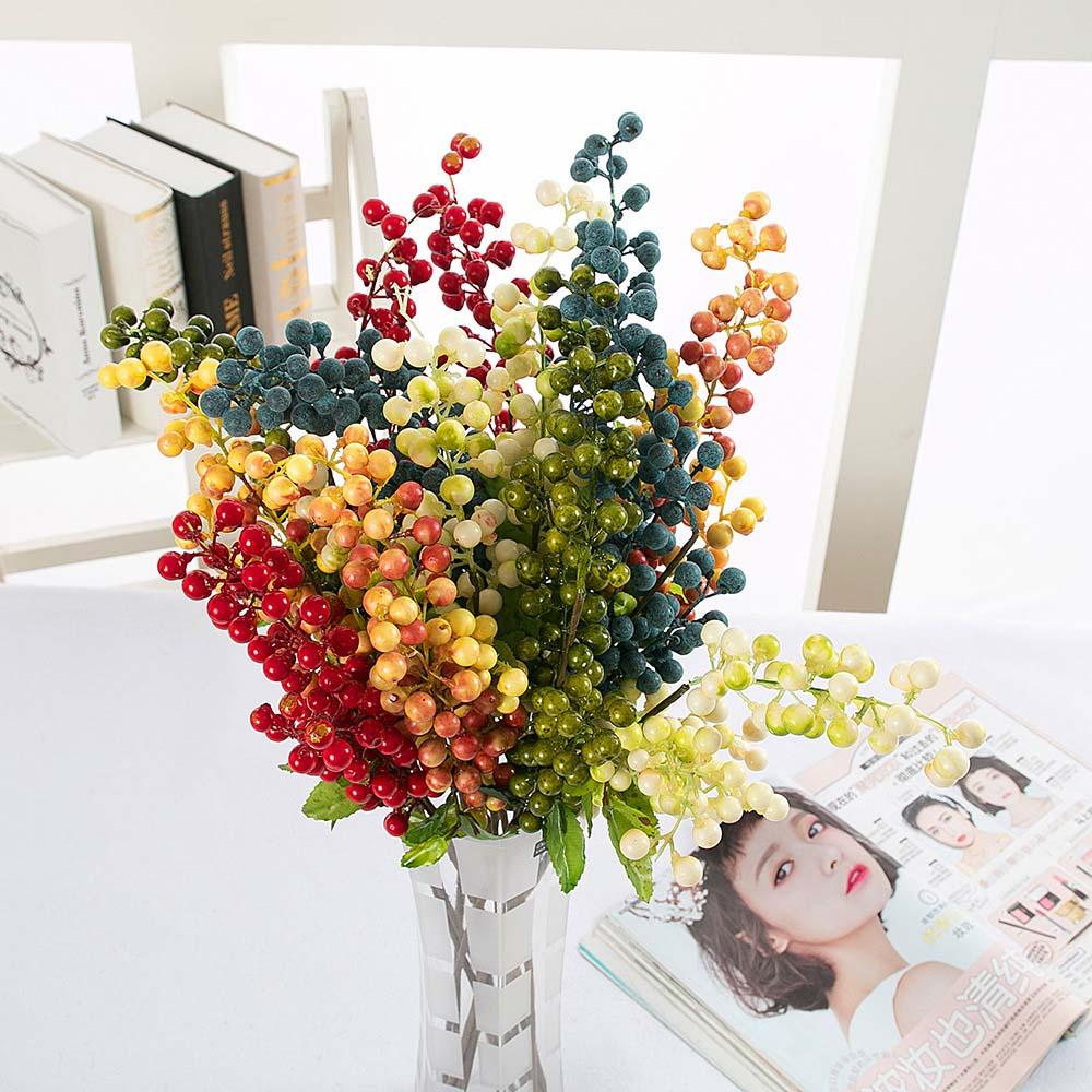 2018 63cm Diy Artificial Flower Blue Red White Plastic Oak Berry For