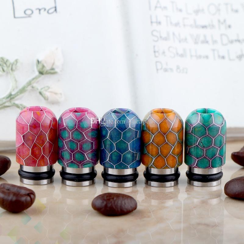 510 Grid Drip Tips Stainless Steel + Epoxy Resin Drip Tip Wave 510  Mouthpiece for Vaporizer 510 Atomizer Tank DHL Free