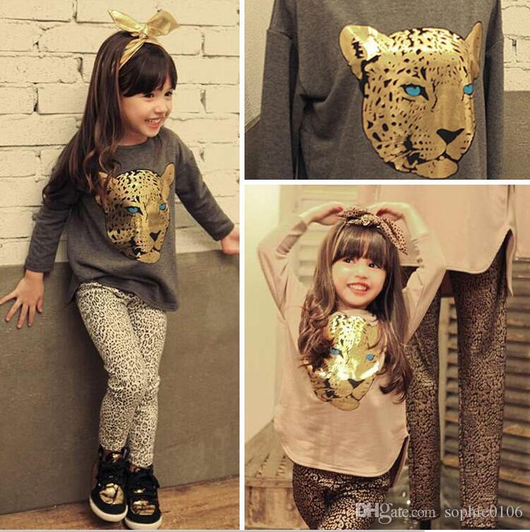 Girl sets Baby clothes Girl Leopard print Cotton Sets Kids Long sleeve Suits Black Grey Apricot Autumn Long T-shirt Pants Tiger Printed