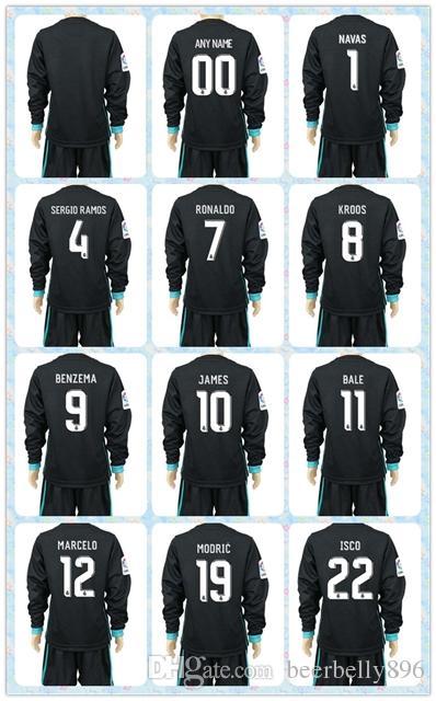 Compre Top Rápido Uniformes Kit Juventude Crianças 2017 2018 Real Madrid  Futebol Jersey   7 Ronaldo   11 Bale   8 Kroos   9 Benzema Fora Azul Manga  Comprida ... 7a5a17b8350cf