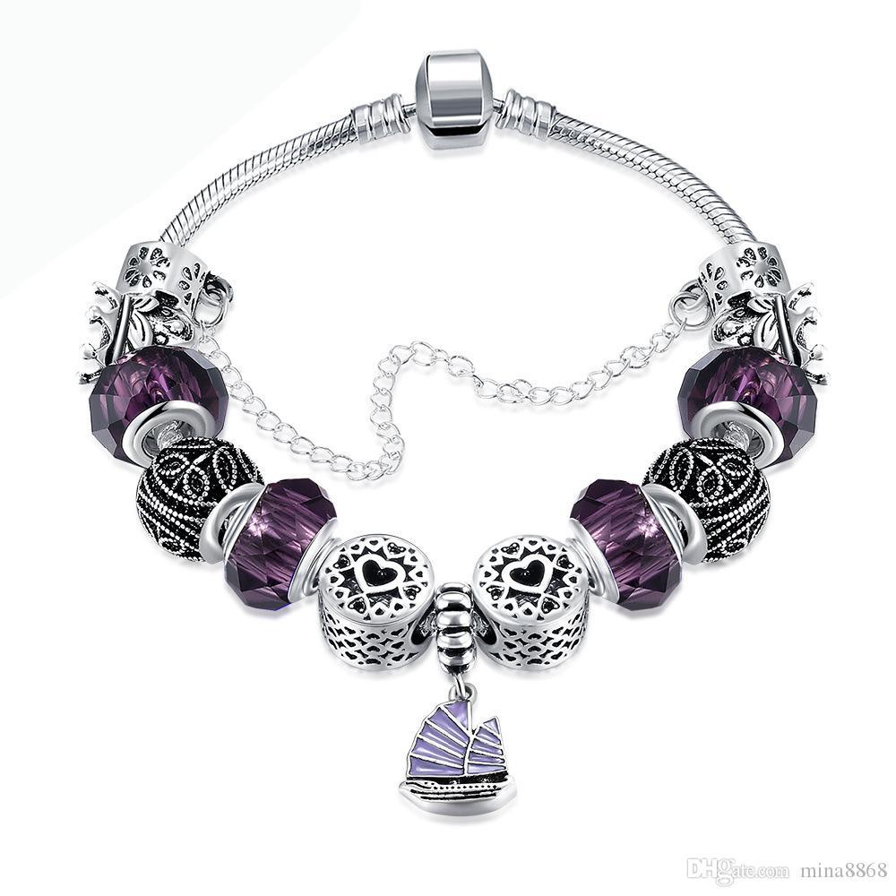 Vintage Argent Plaqué Charme Bracelets De Bateau Pour Les Femmes Cristal Coeur Perles Bracelets Bracelets Femmes Pulsera À La Main Perlé Bracelets Bijoux