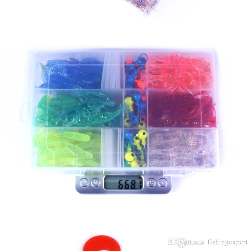 Variety Colors Soft Plastic Baits Suits Jig Heads Hooks Shrimp Worms Fish Bait 668g Saltwater Fishing Lure Tackle with Box-packed