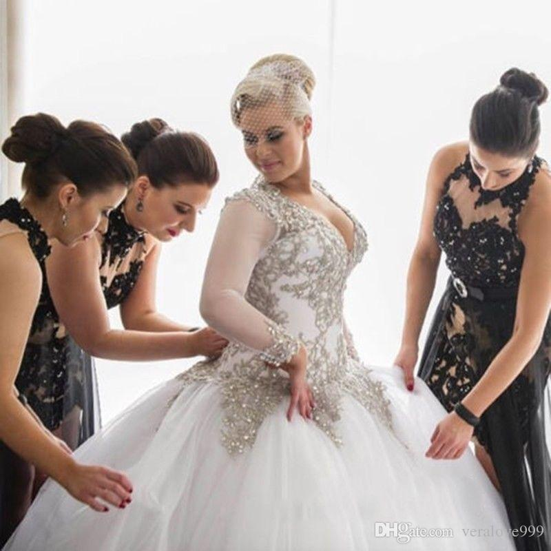 Newly Deep V Neck Wedding Dresses Beading Appliques Bride Gowns 2019 Plus Size Wedding Gowns Long Sleeves Custom Size
