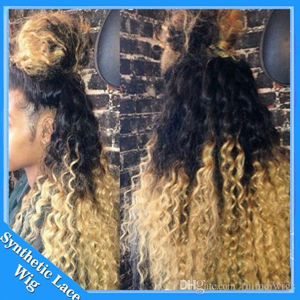Cosplay New black blonde ombre front lace wigs Heat Resistant two tone 1b/613# afro kinky curl synthetic lace front wig