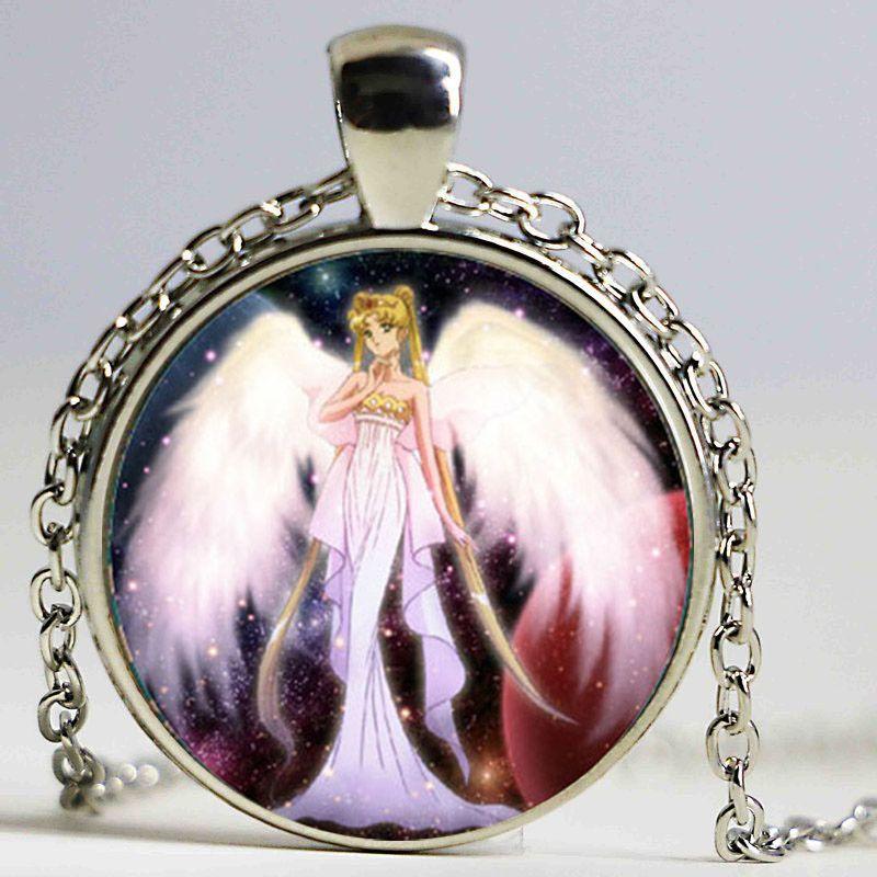 Sailor moon colar bm nova moda rodada colar de vidro sailor moon pingente de vidro cabochão colar vintage