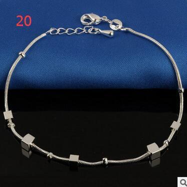 Cavigliere d'argento sterlina di modo le ragazze delle signore delle donne Unico perline semplici sexy belle Cavigliera d'argento cavigliera regalo gioielli piede libero Sh