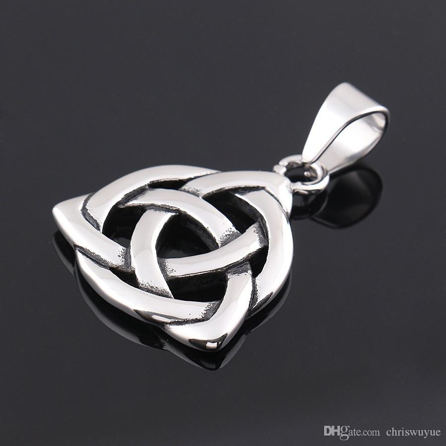 Özel kolye Kolye 316L Paslanmaz Çelik Celtic Knot İrlandalı Şanslı Aşk Kolye Zinciri kadın jewerly, Unisex, Zincir 50 CM MP598
