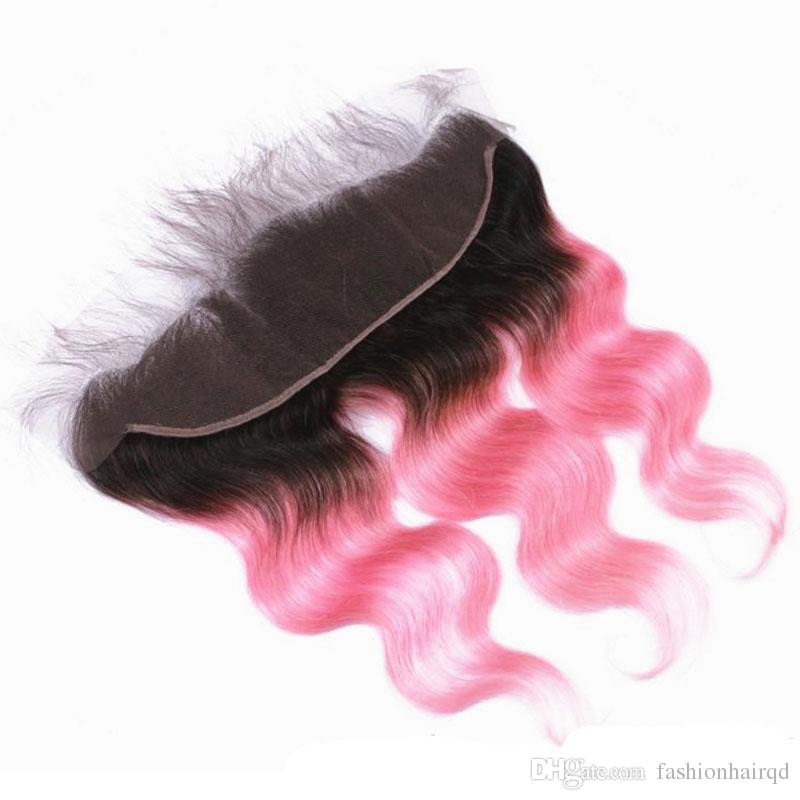 T1b Pink Two Tone Ombre Lace Frontal Closure Body Wave Brazilian Peruvian Indian Malaysian Virgin Human Hair With Baby Hair Bleached Knots