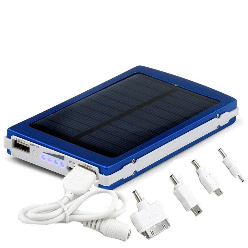 Solar Charger and Battery 5 color 30000mAh Solar Panel Dual USB LED Charging Ports power bank with Connector package for Cell Phone