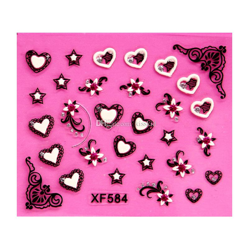 3d Nail Art Design Adesivi Flower Butterfly Patch Set Tip Tips Fogli Decalcomanie Disegni stile casuale XF5
