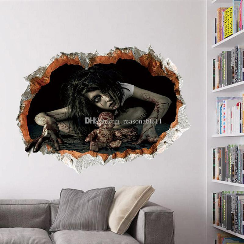 3D Wall Stickers Waterproof Halloween Ghost Poster Home Decorative Festival & Party Horror Stickers For Party Decor 4 Design