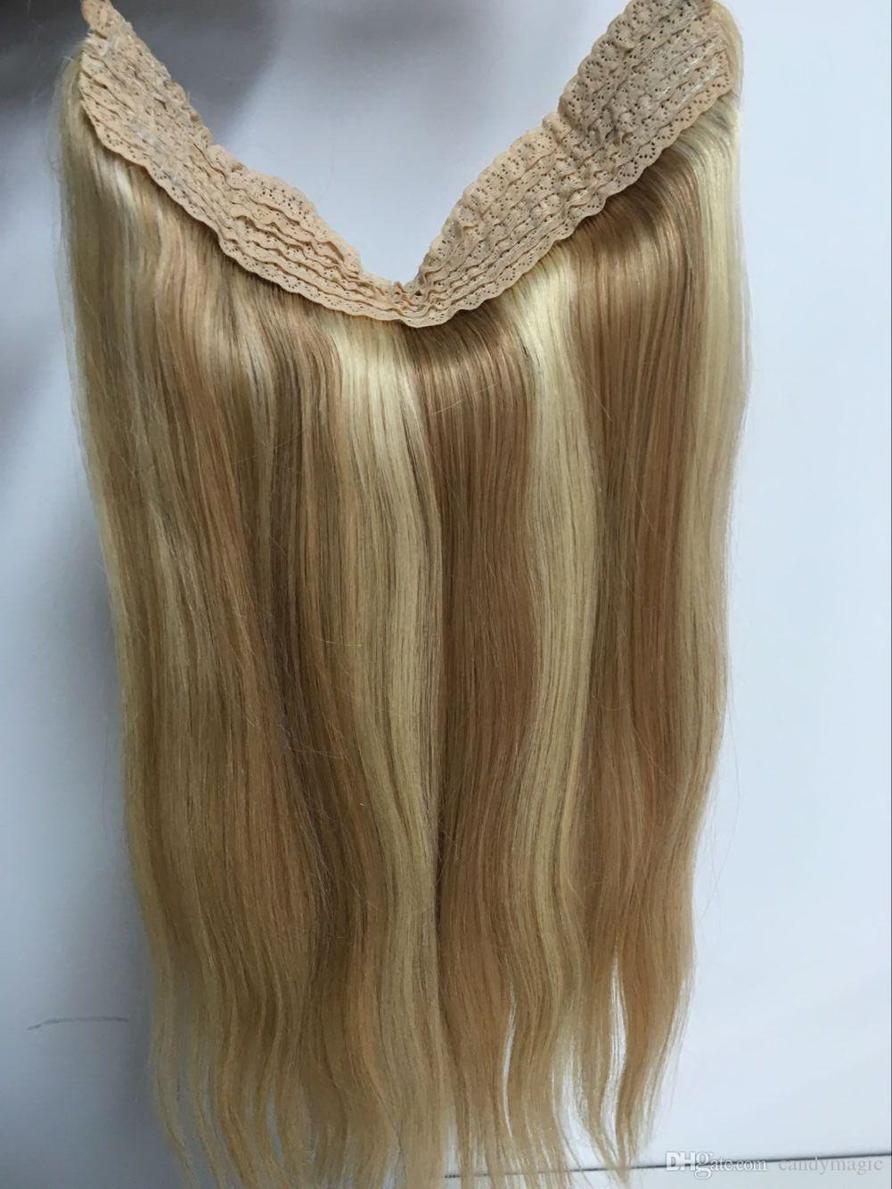 Hot Sale Brazilian Human Hair No Clips Halo Flip In Hair Extensions
