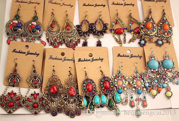 2018 Nouvelle mode Vintage Tibétain Argent / Bronze Résine Gem diamant boucles d'oreilles Bohême style bijoux mélangés 24 style /