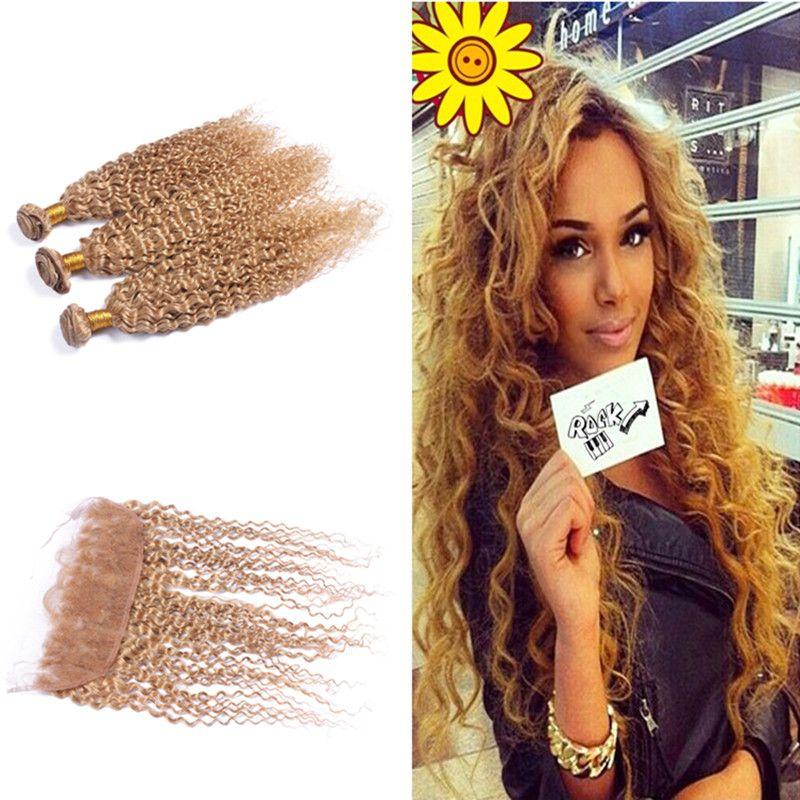Top-Qualität Pure Color # 27 Honey Blonde Versaute Curly Ohr zu Ohr volle Spitze Frontal Schliessen mit Malaysian Virgin Menschenhaar-einschlag