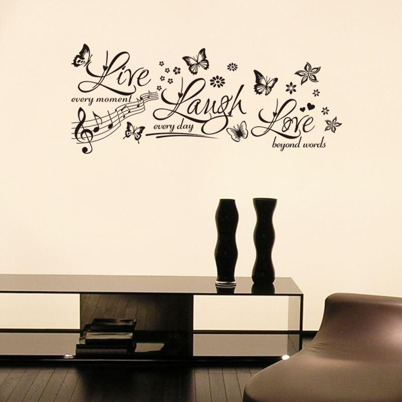 Butterfly Pattern Live Laugh Love Vinyl Wall Art Decor Stickers