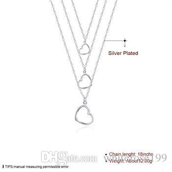 Partihandel - Retail Lägsta pris Julklapp 925 Silver Mode Smycken Gratis frakt Halsband N038