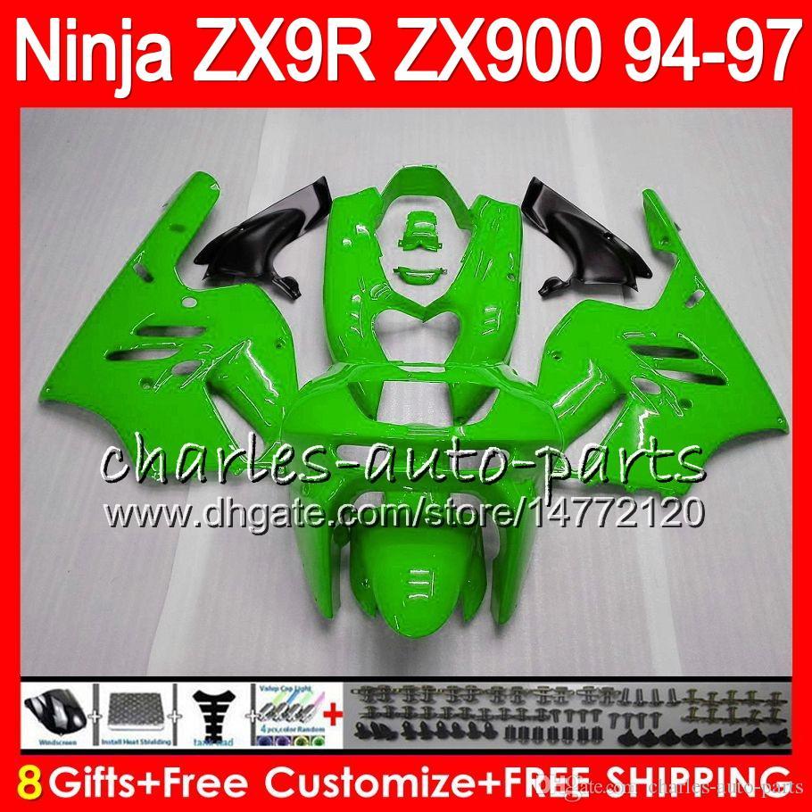 8Regalos es para KAWASAKI NINJA ZX900 ZX9R 94 95 96 97 900CC 49HM23 verde brillante ZX-9R ZX900C ZX 9 R ZX 9R 1994 1995 1996 1997 Kit de carenado