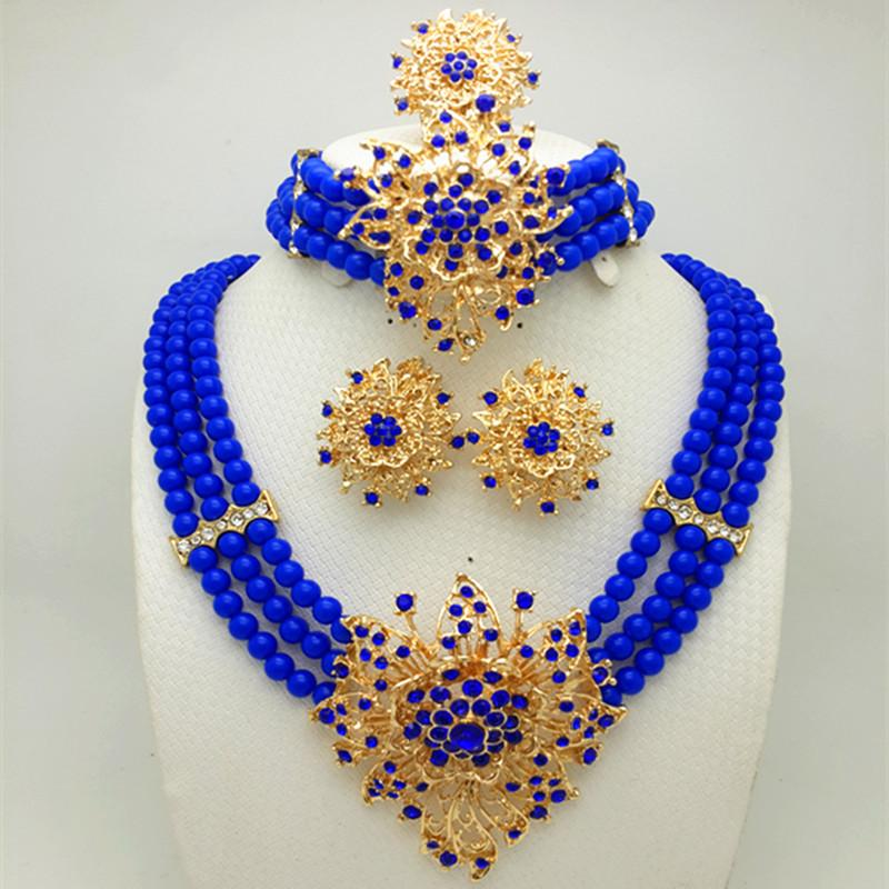Wholesale Fashionable African Beads Jewelry Sets Purple Crystal Beads Jewelry Set Nigerian Wedding Bridal Necklace Jewelry