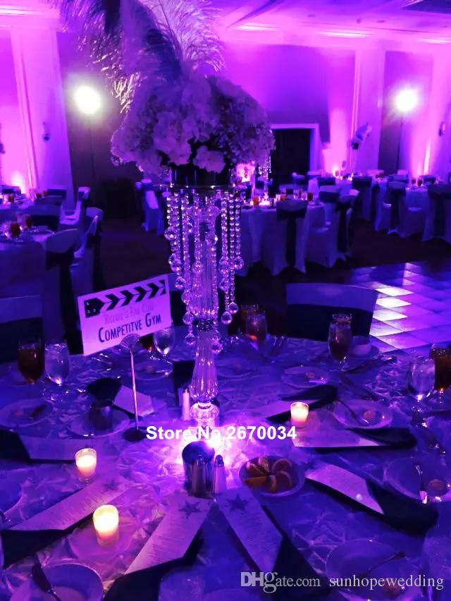 Wholesale Silver Acrylic Crystal Metal Candelabra Wedding Table Centerpieces Ball Centerpiece Hanging Crystals