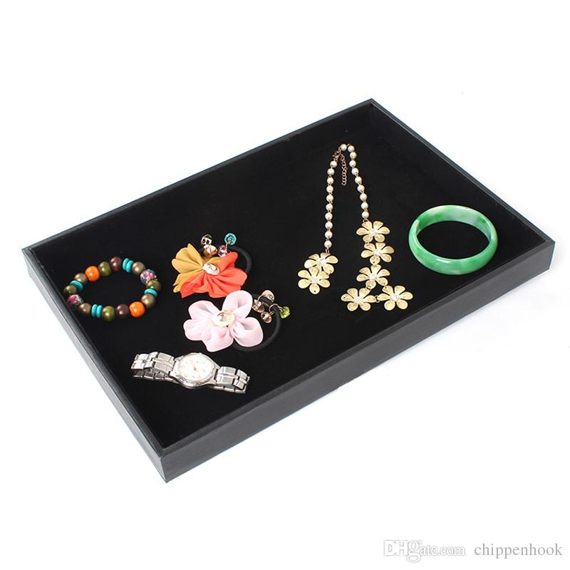 Jewelry Display Flat Tray in black velvet for necklace rings earrings storage case 4pcs/lot