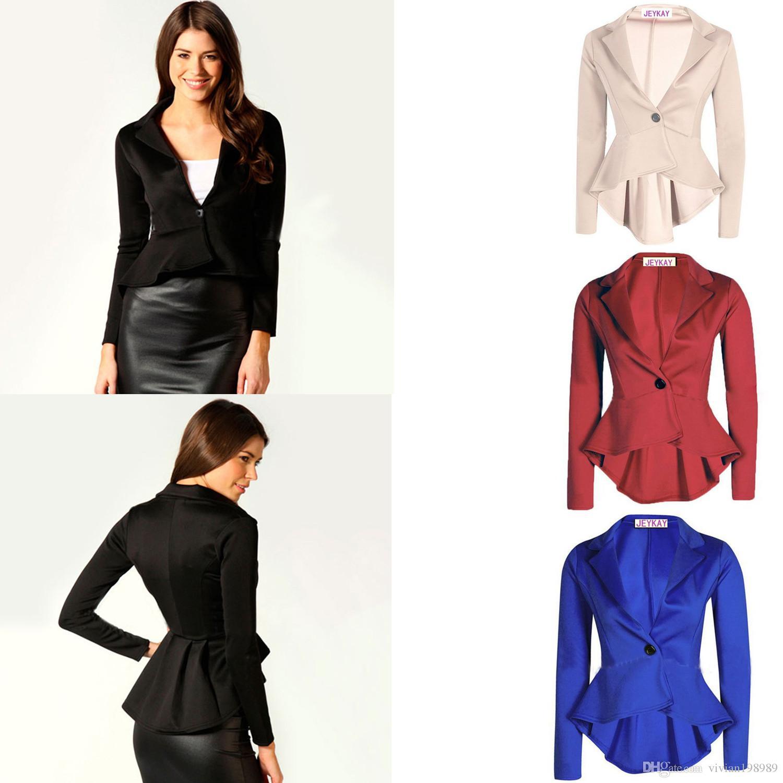 Elegant Women Spring Blazers 2017 Fashion Blended Tuxedo Red Black ...