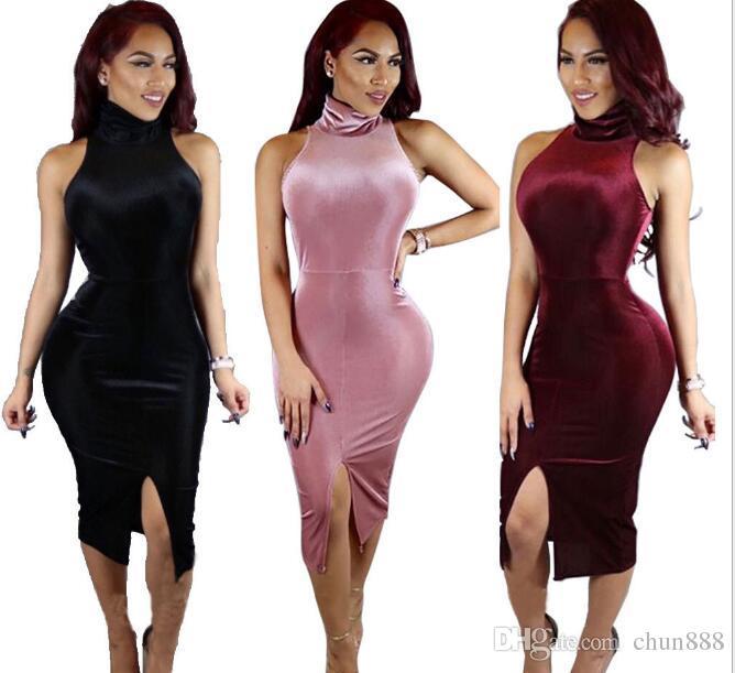 Hot style sexy in Europa e negli Stati Uniti prima della fascia alta spacco benda vestito da club vestito sexy abiti da night club