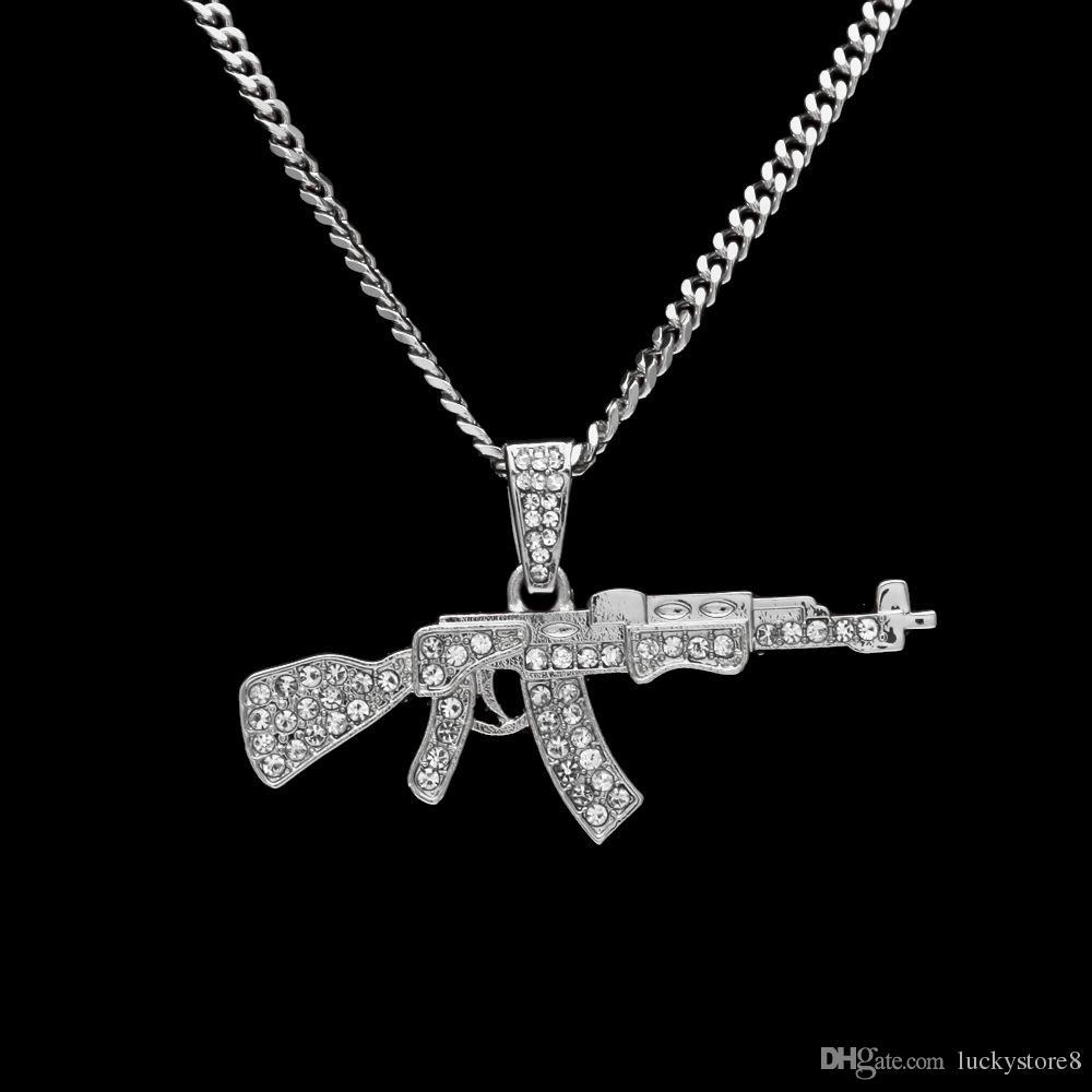 رجل 18 كيلو الذهب والفضة مطلي مثلج تشيكوسلوفاكيا الهيب هوب AK-47 بندقية قلادة قلادة 3 ملليمتر 24