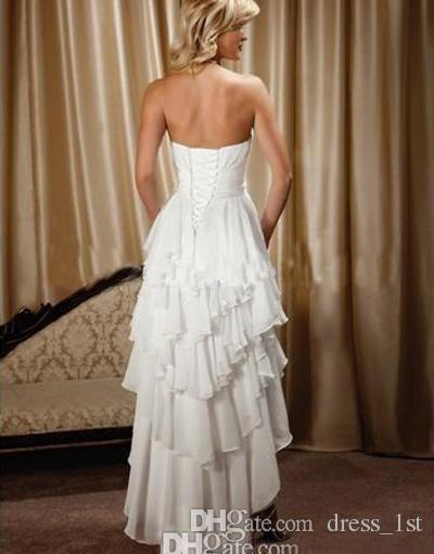Hot Sale 2016 Short Front Long Back Chiffon Country Western Wedding Dresses Cheap Ruffles Tiered High Low Beach Bridal Gown Custom EN1201