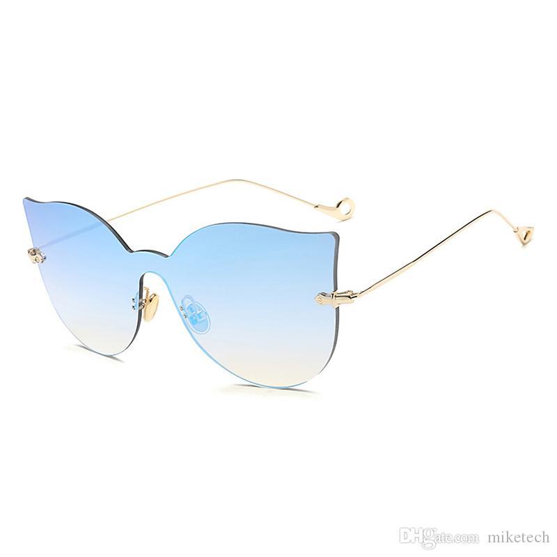 aad07913bc Luxury Brand Design Cat Eye Sunglasses Women Vintage Retro Rimless ...