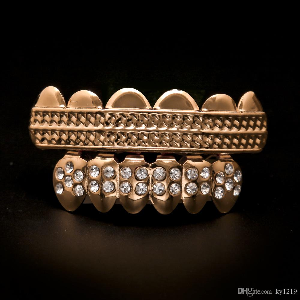 Wholesale Hip Hop Jewelry Rose Gold Grillz Wth Full Diamond Street Style Fashion Accessories 2017 New Arrival