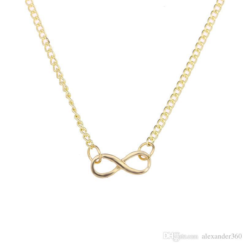 Infinity Love Pendant Necklace Oro Argento Numero fortunato 8 ciondoli con carta regalo Regali di San Valentino