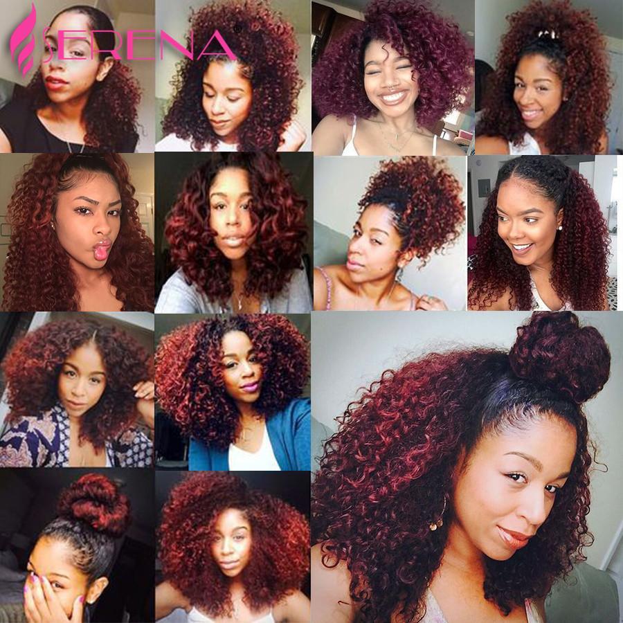 Curly Virgin Hair With Frontal 1b 99J Human Hair Bundles With Closure Ombre 1b Burgundy Deep Wave Peruvian Virgin Hair Closure