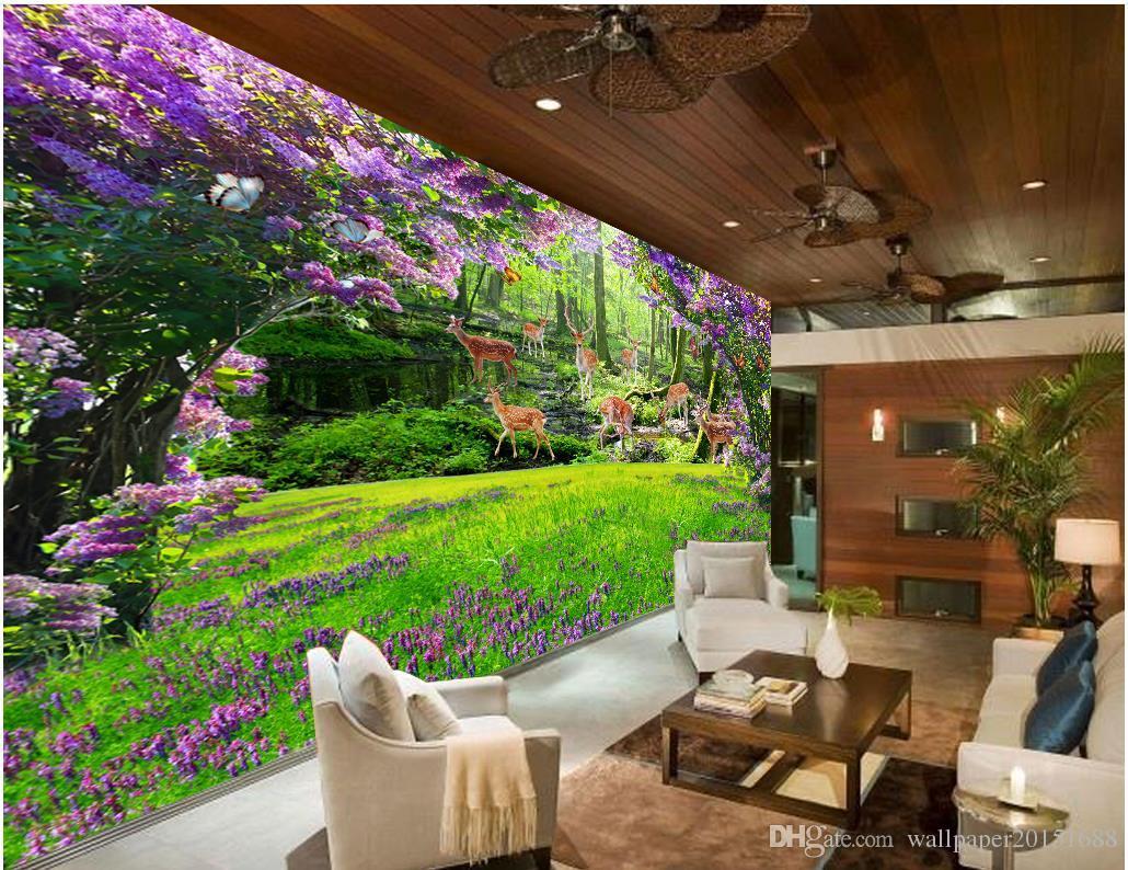 Living Room 3d Wallpaper fresh flower horseman deer grass living room 3d tv backdrop wall