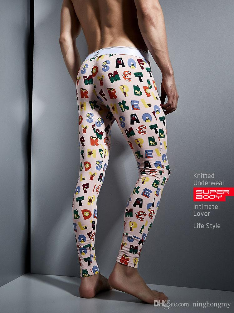 Male thermal cotton long johns low-waist U Convex printing Stretch Skinny Tight Pants,men fitness thin leggings warm pants Fashion Sexy