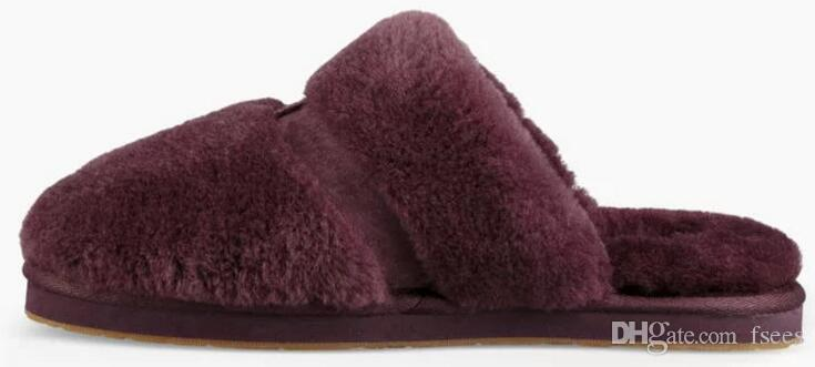 Fashion Warm sheepskin natural fur slippers women home shoes winter suede slippers woman indoor shoes half wool slippers