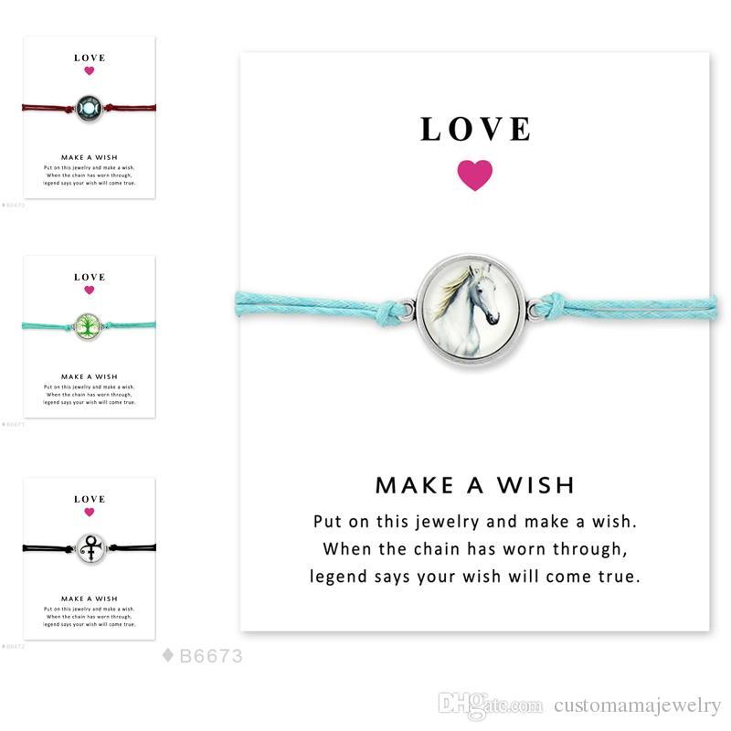 Triple Moon Tree Of Life Prince Symbol Horse Glass Charm Bracelets