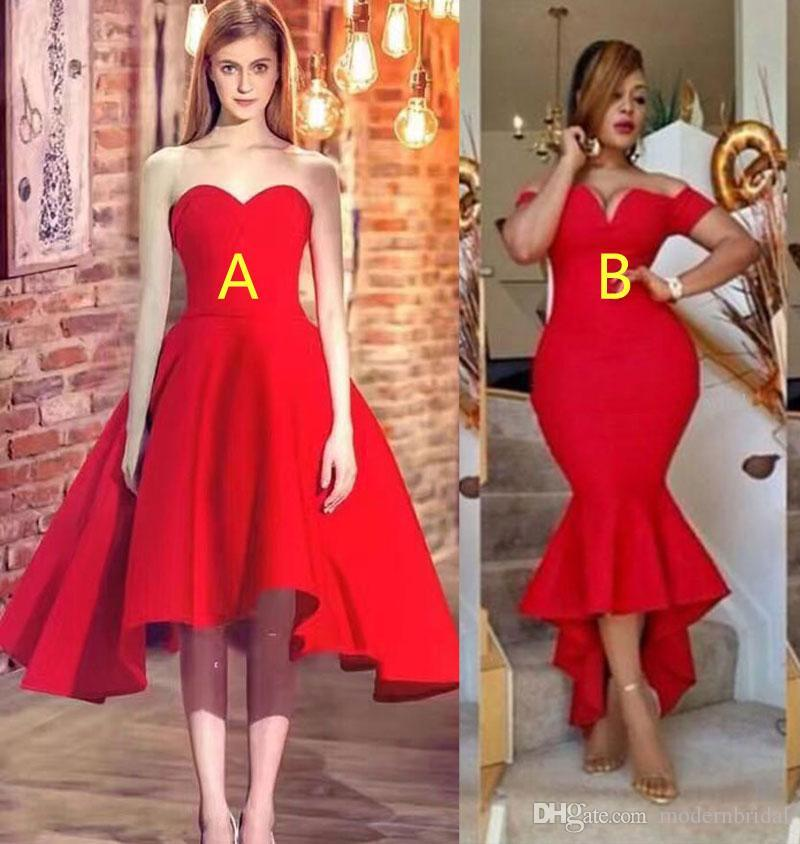b022999060d Red Prom Dress 2017 Sweetheart Off The Shoulders Neckline Mermaid High Low Tea  Length Evening Party Dresses Classy Prom Dresses Dress For Prom From ...