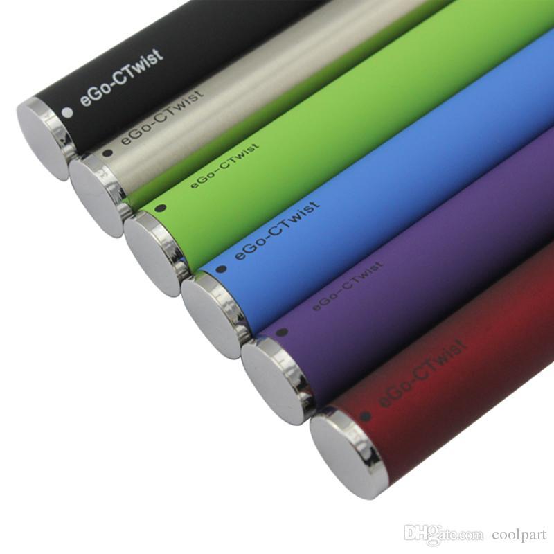 EVOD Twist ego c torsion batterie pour la tension variable de cigarette électronique 3.2-4.8V 650mah 900mah 1100mah 1300mah pour atomiseur MT3 CE4 CE5